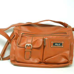 Relic Faux Leather Brown Shoulder Handbag